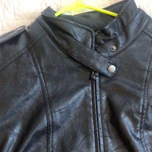 Leatherette jacket moto